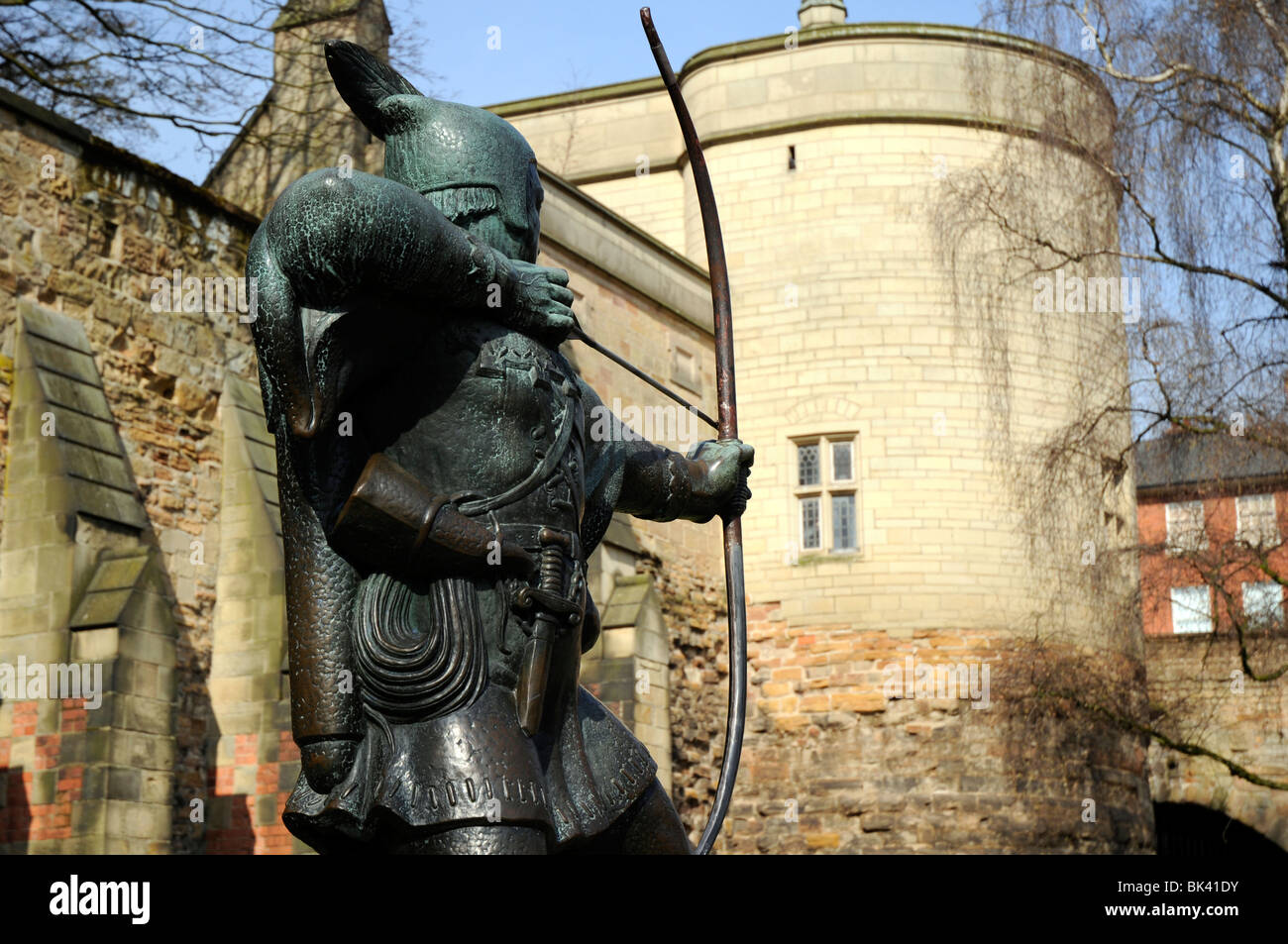 Robin Hood statue outside Nottingham Castle, Nottingham, England, UK
