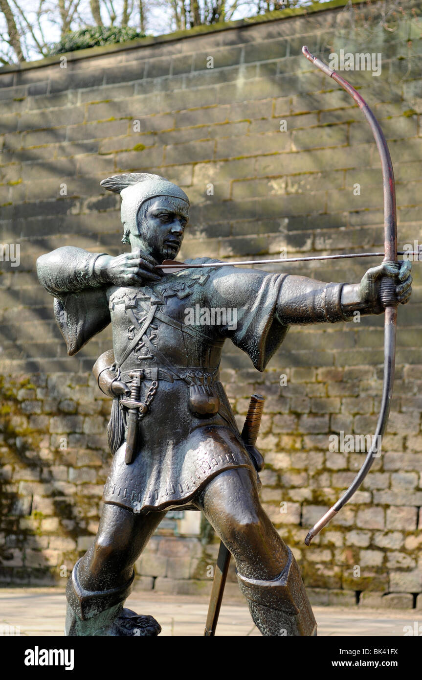 Robin Hood statue outside Nottingham Castle, Nottingham, England, UK - Stock Image