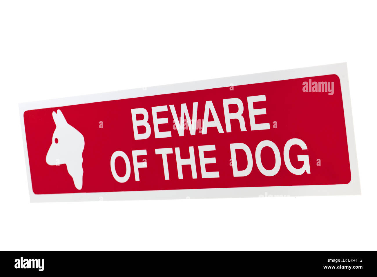 Red warning sticker Beware of the Dog - Stock Image