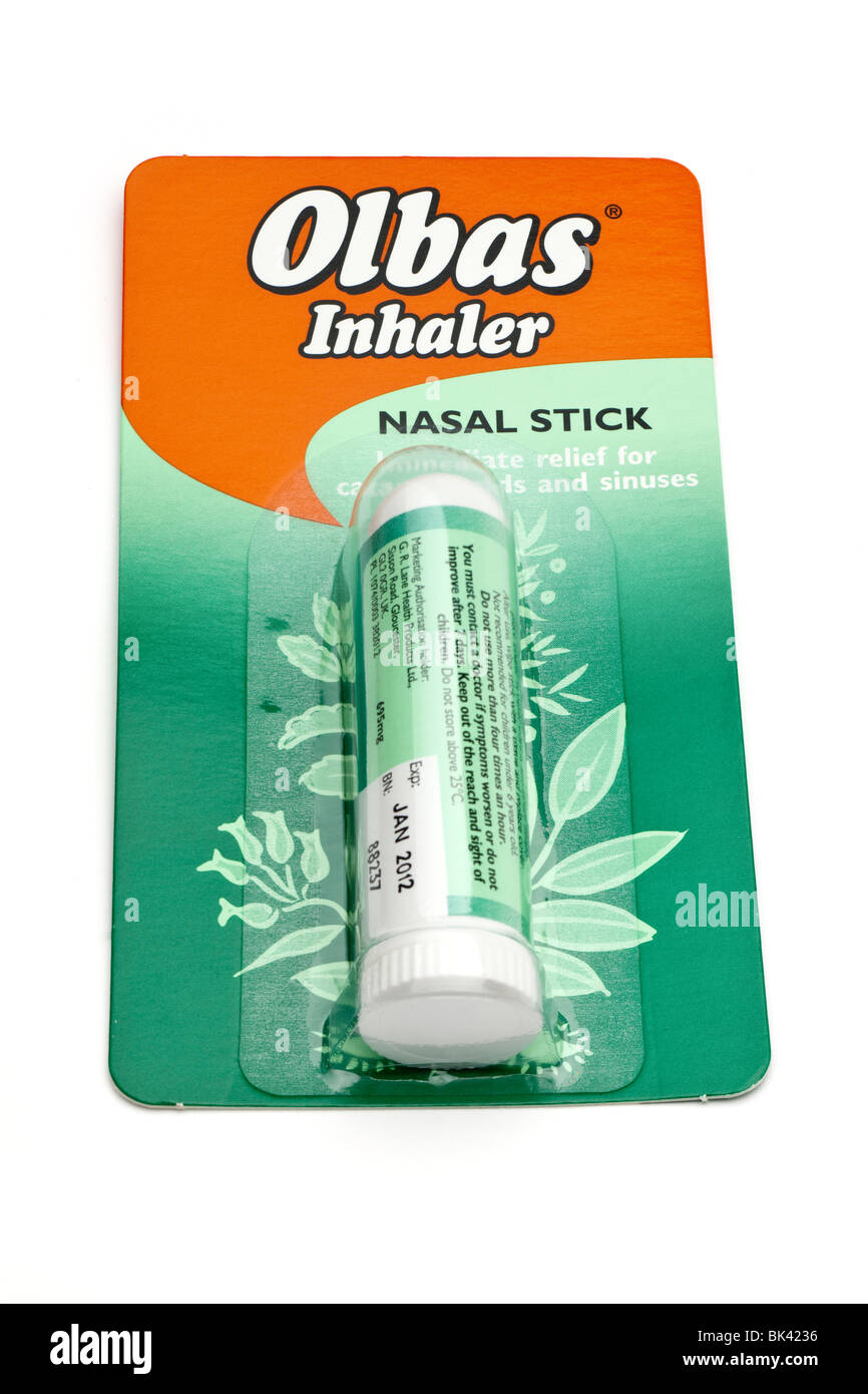 packeted Olbas inhaler nasal stick - Stock Image