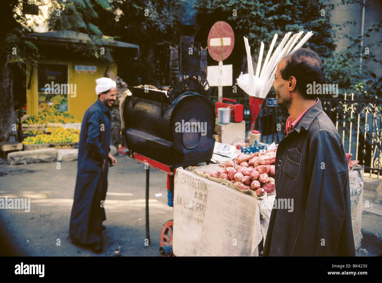 Food vendor with vegetables, Egypt - Stock Image