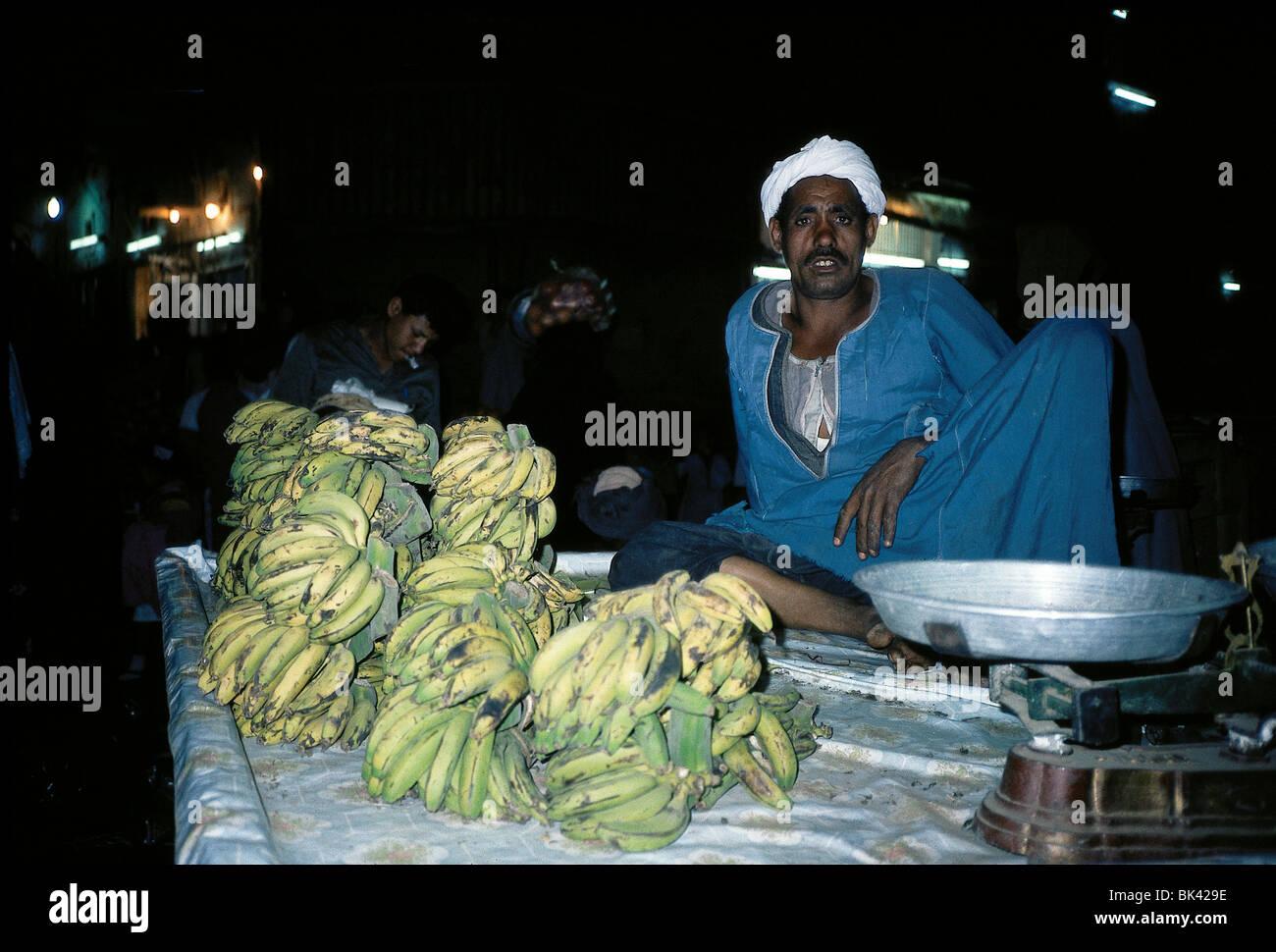 Merchant selling bananas, Egypt - Stock Image