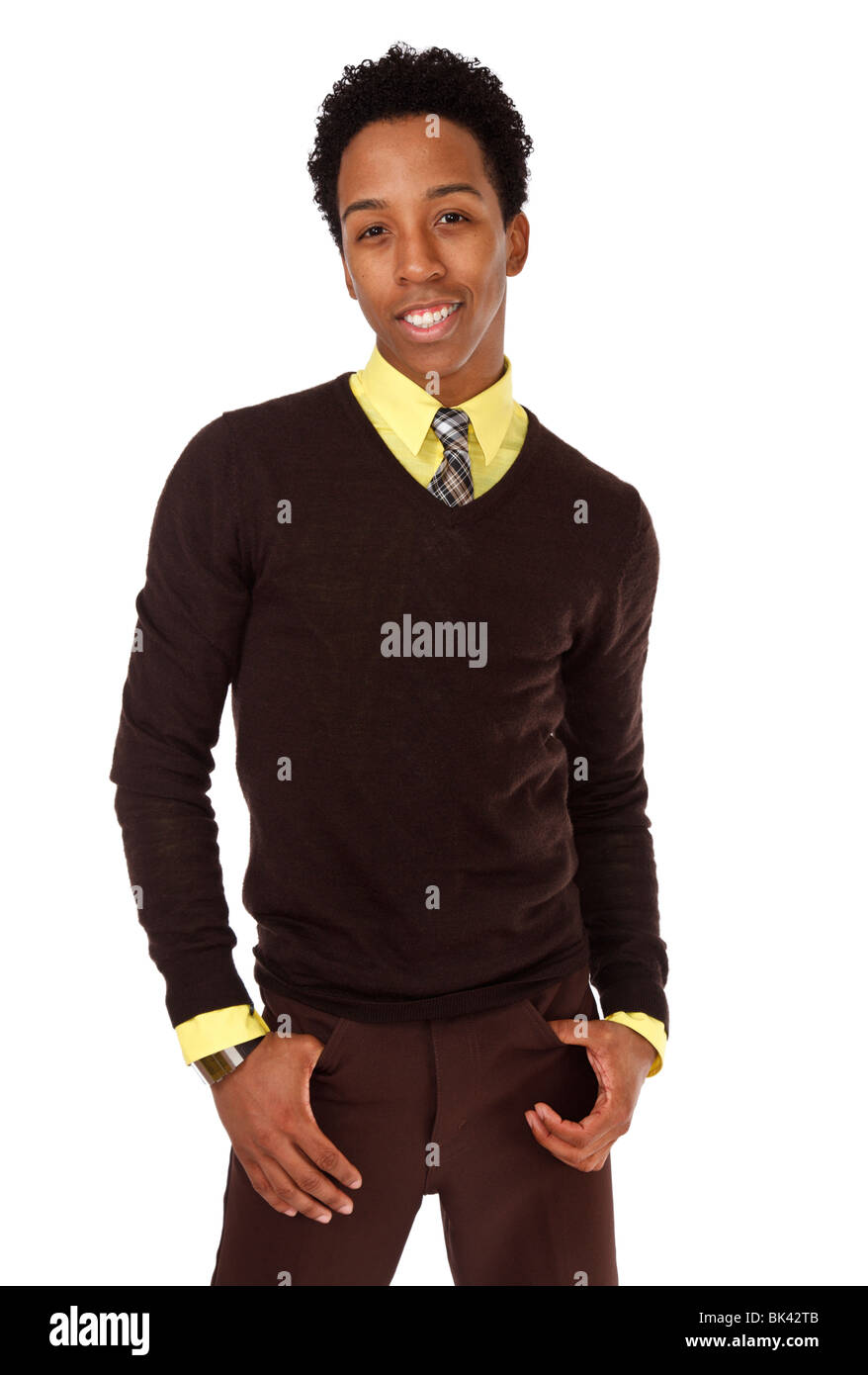 A model-released half-length portrait of a hip, stylish, young african american man. - Stock Image