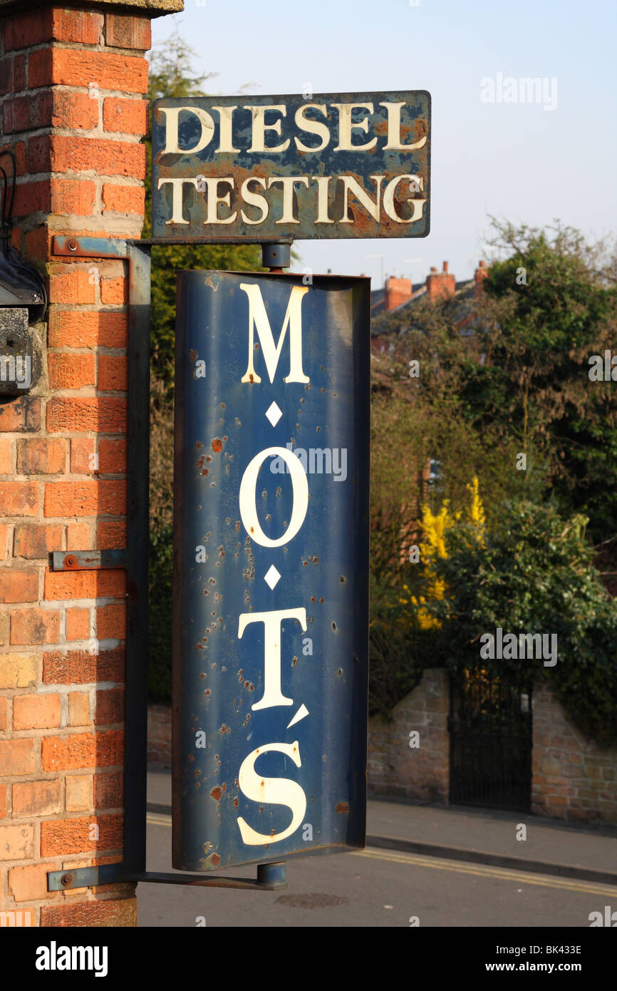 An old Ministry of Transport (MOT) Vehicle Testing Station sign in the U.K. - Stock Image