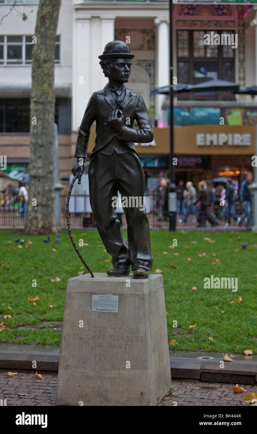 Charlie Chaplin monument, Leicester Square, West End of London, England - Stock Image
