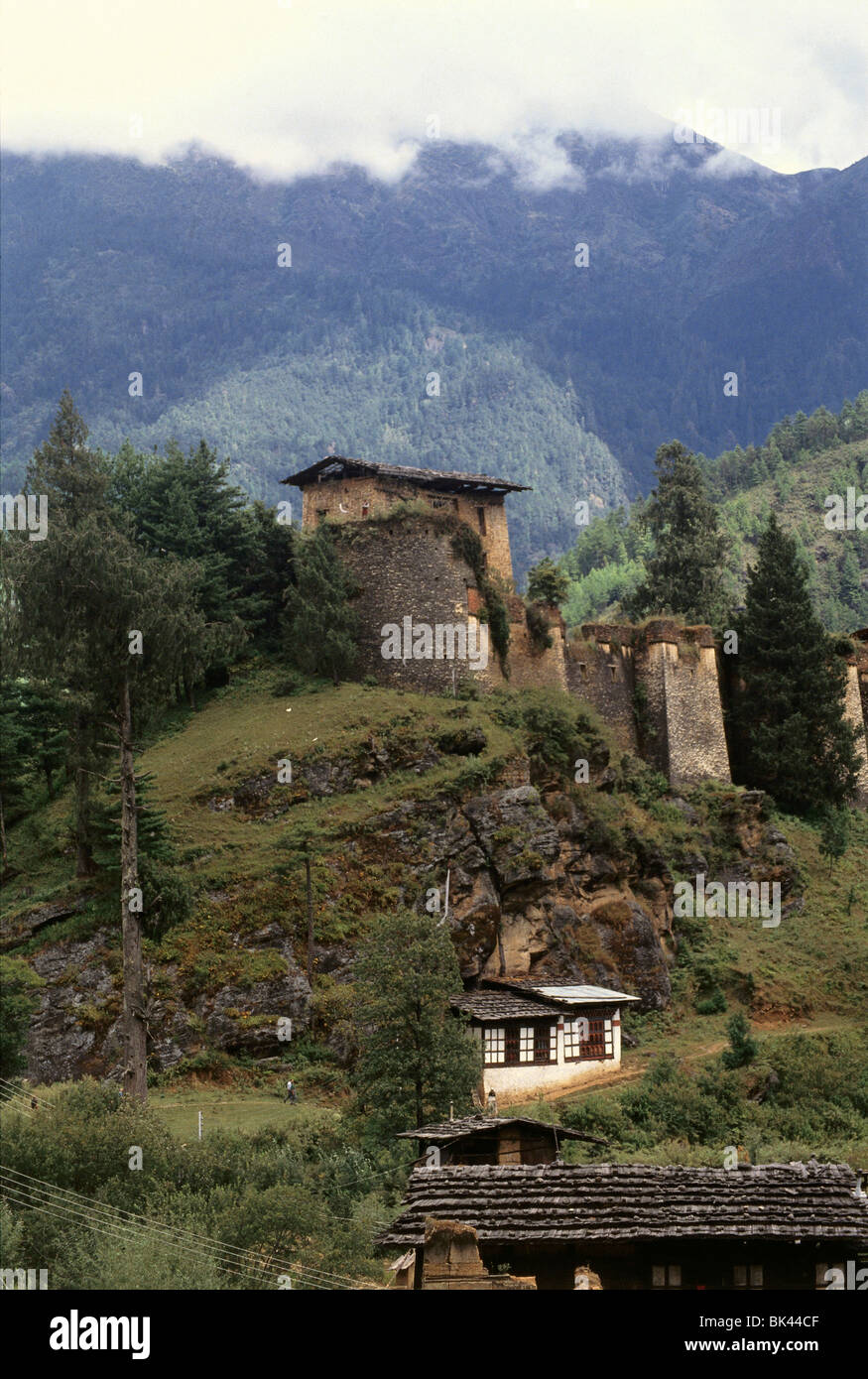 A Buddhist Temple in the Kingdom of Bhutan - Stock Image