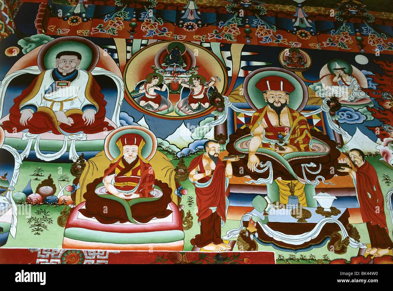 Buddhist Temple Mural, Kingdom of Bhutan - Stock Image