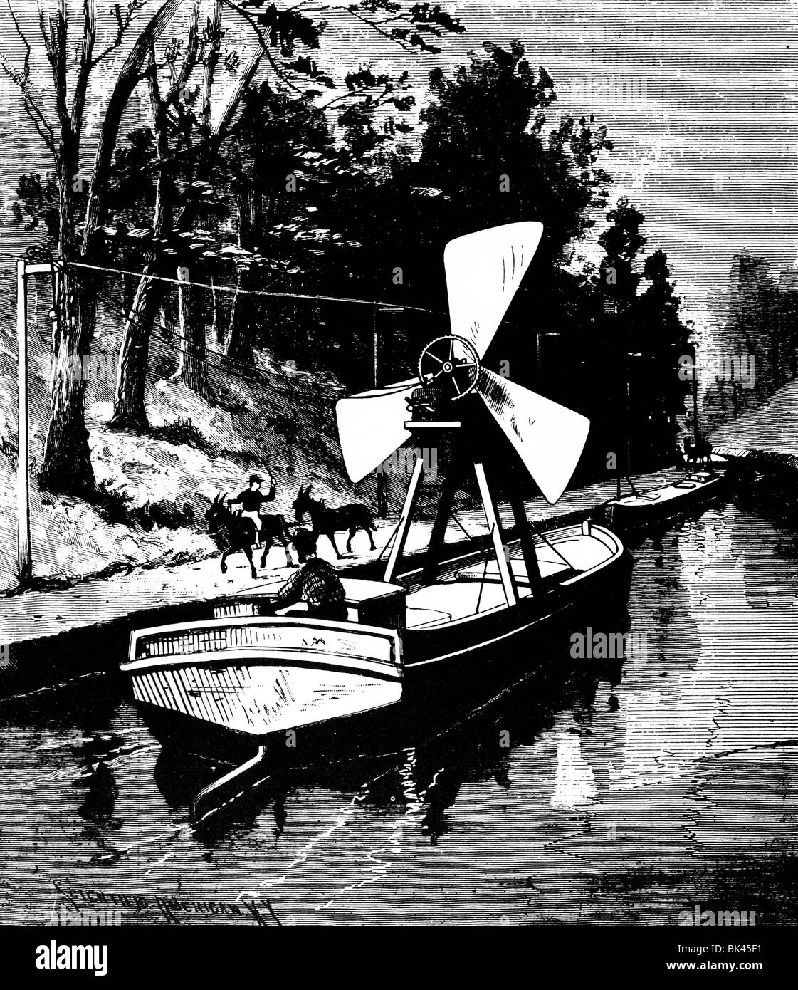 design for a canal boat propulsion, 1889 - Stock Image