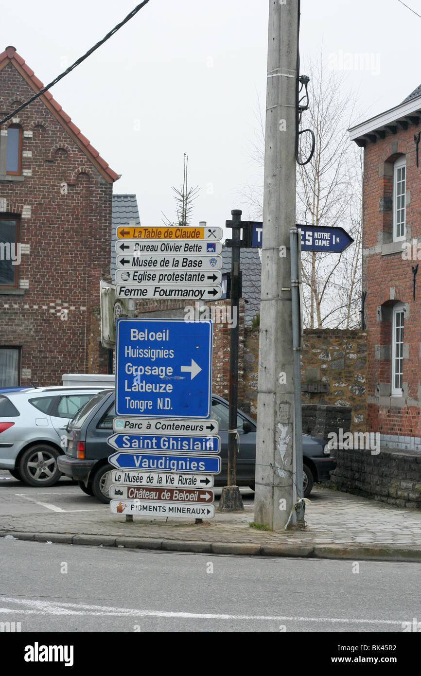Street signs in Chievres, Belgium - Stock Image