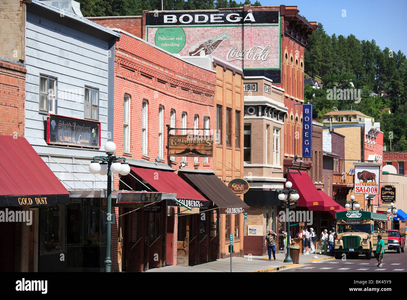Main Street in Midwestern frontier and gambling town Deadwood South Dakota, the place where Wild Bill Hickok was - Stock Image