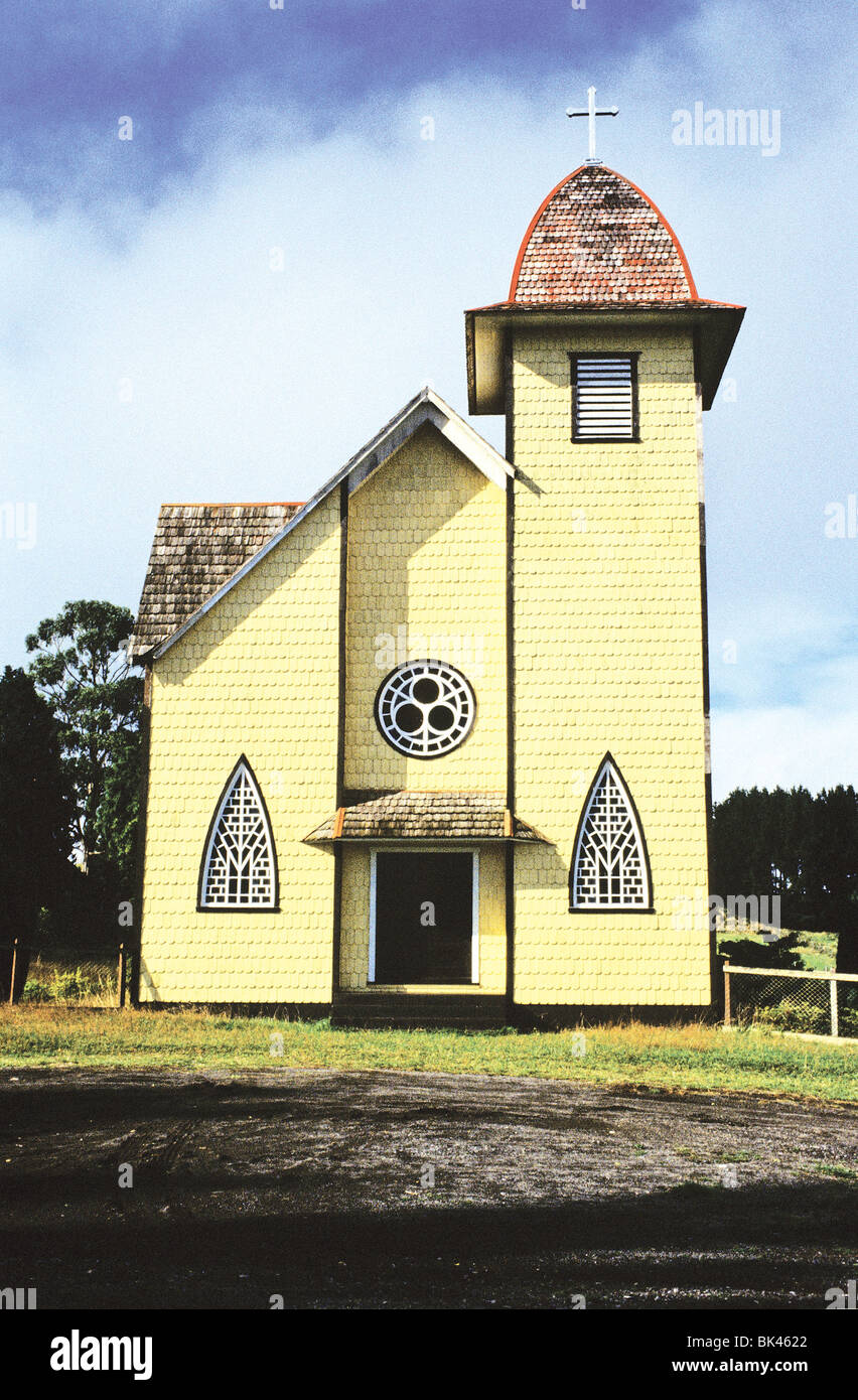 Wood framed church near Rio Pescado, between Ensenada and Puerto Varas, on the southern shore of Lake Llanquihue, - Stock Image