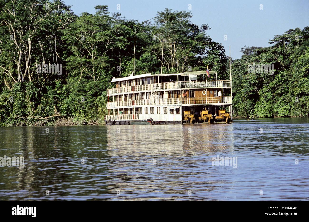 Three-deck riverboat the Flotel Francisco de Orellana on a river in the Amazon Region of Ecuador - Stock Image