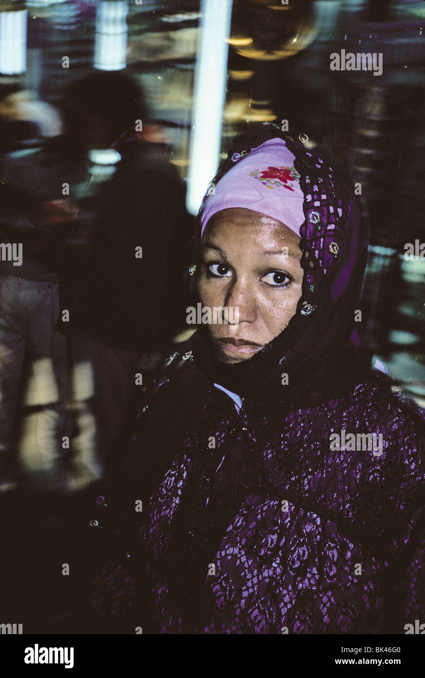 Profile of a woman wearing a headscarf, Egypt - Stock Image