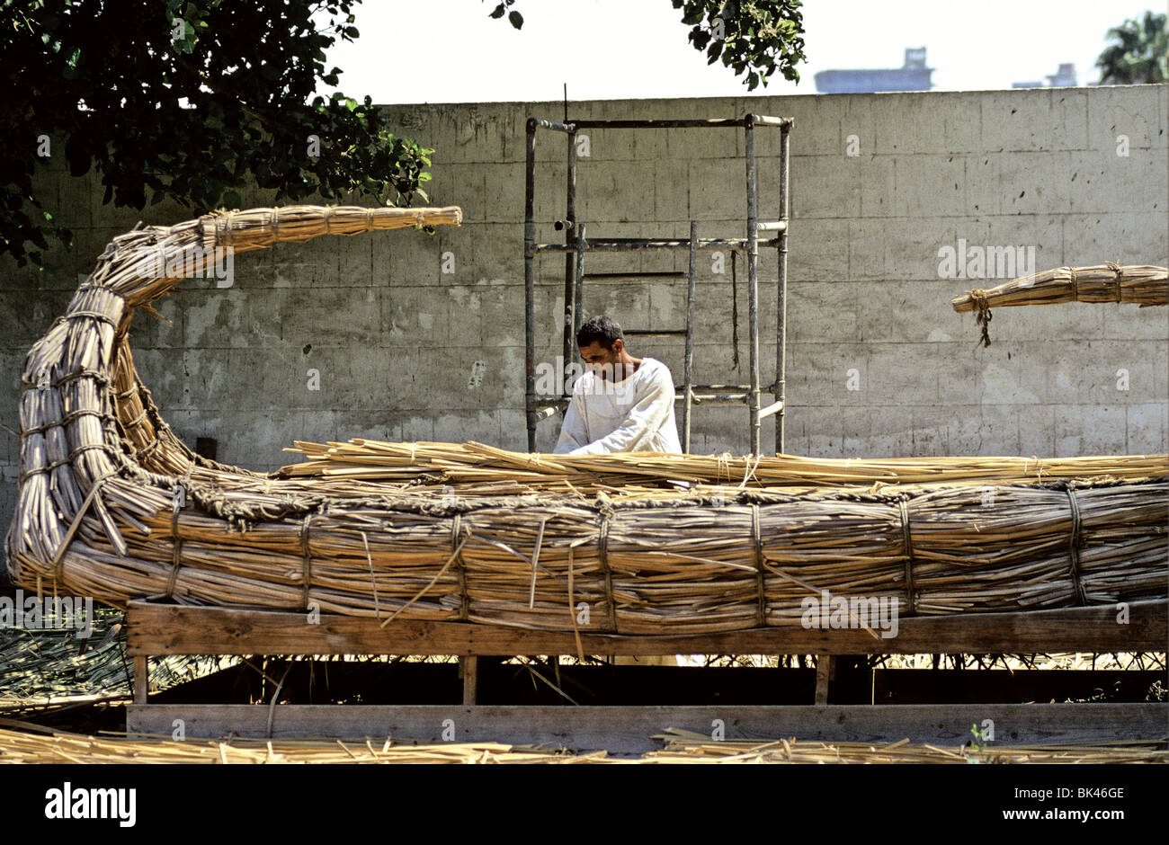 Man building historical reproduction of papyrus reed boat at Dr ...