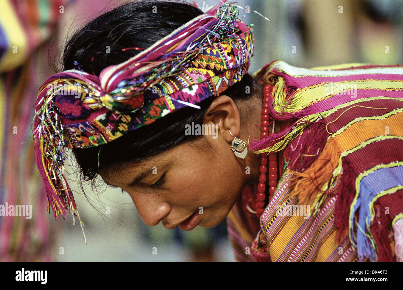 Woman wearing traditional Maya traje in Cantel, Guatemala Stock Photo
