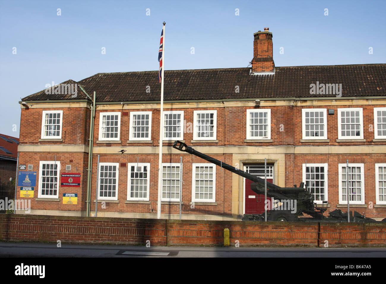 A Territorial Army (TA) barracks in a U.K. city. - Stock Image