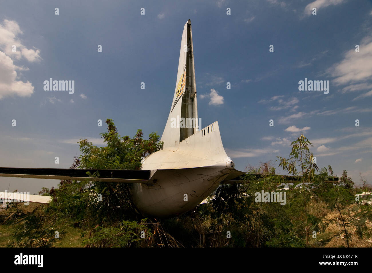 An airplane crash wreckage in Haiti - Stock Image