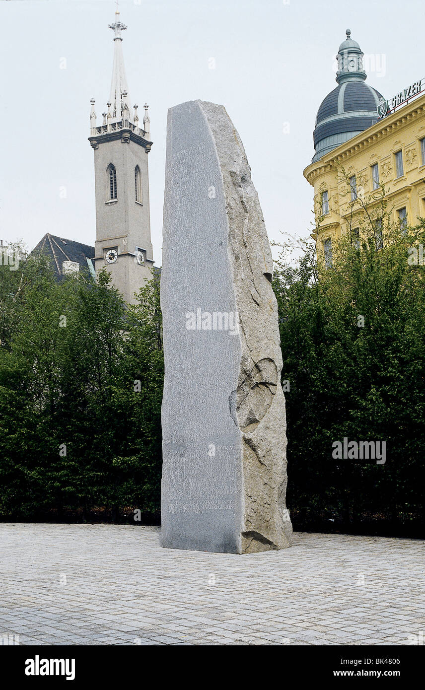 Albertinaplatz Denkmal gegen Krieg und Faschismus Monument Against War & Fascism Vienna Austria Erected in 1988 Stock Photo