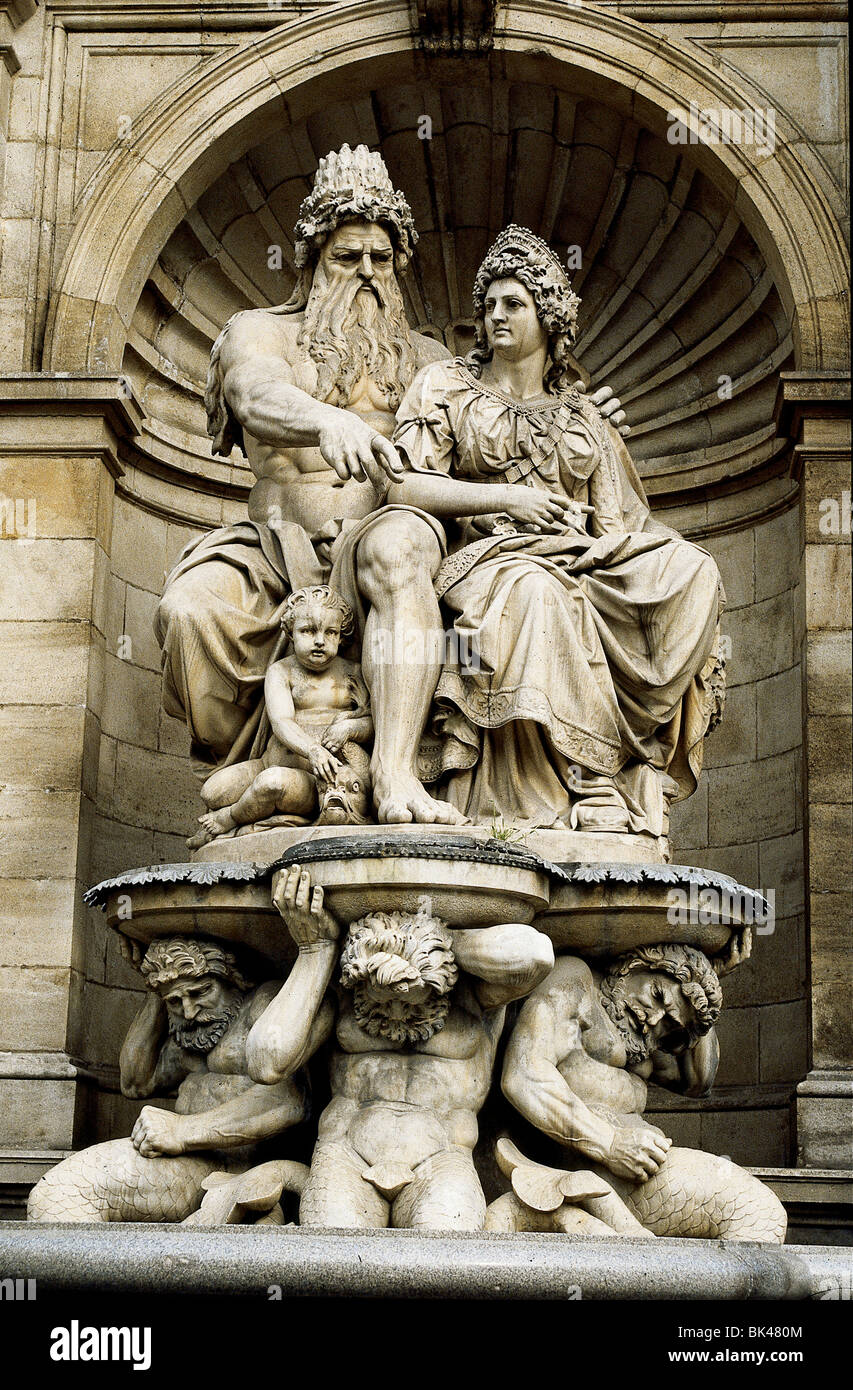 Allegorical figures of river god Danubius & Vindobona (personification of Vienna) in Danubius Fountain (also - Stock Image