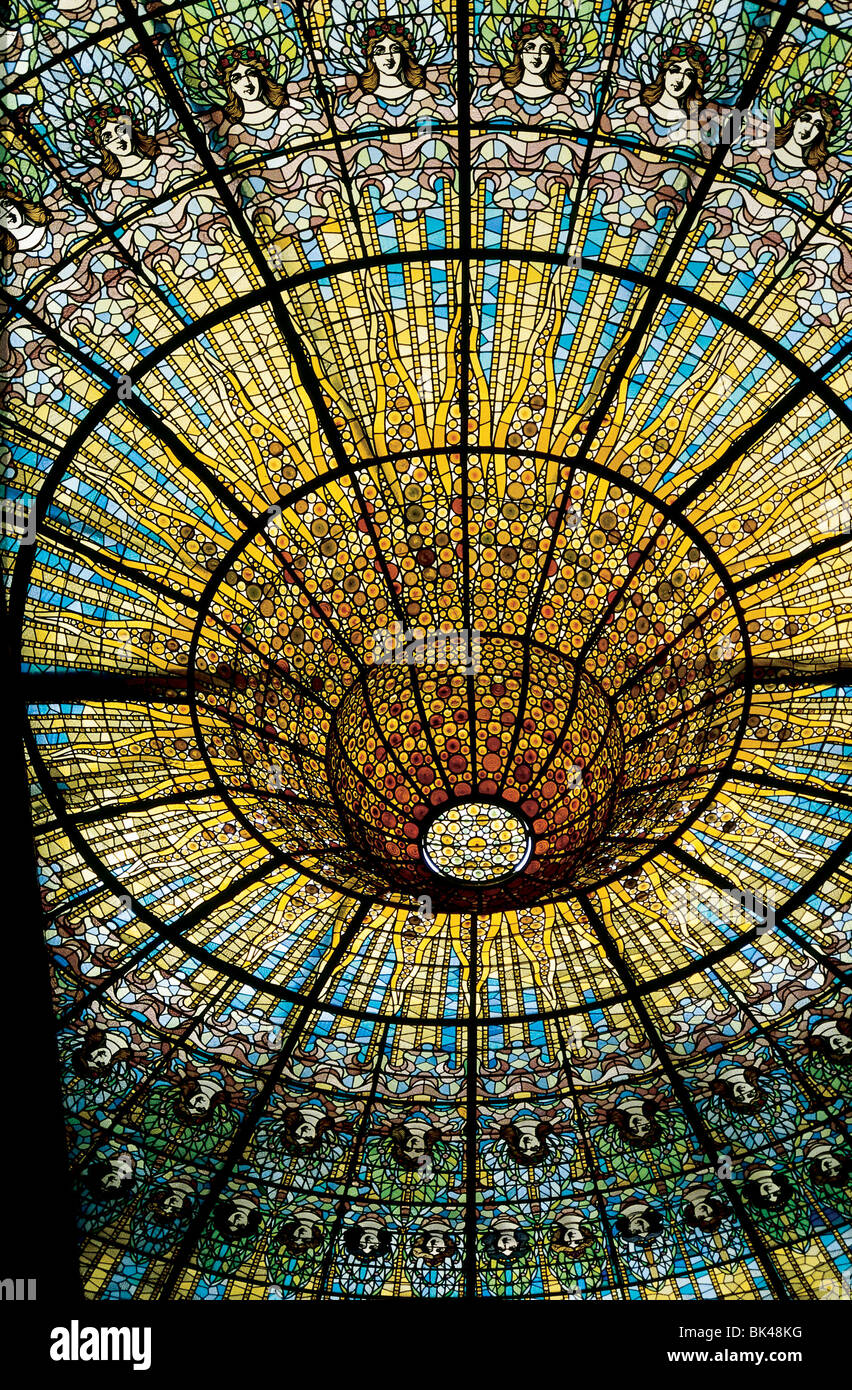Stained glass ceiling in Palace of Catalan Music Palau de la Musica Catalana Barcelona Spain concert hall was designed - Stock Image