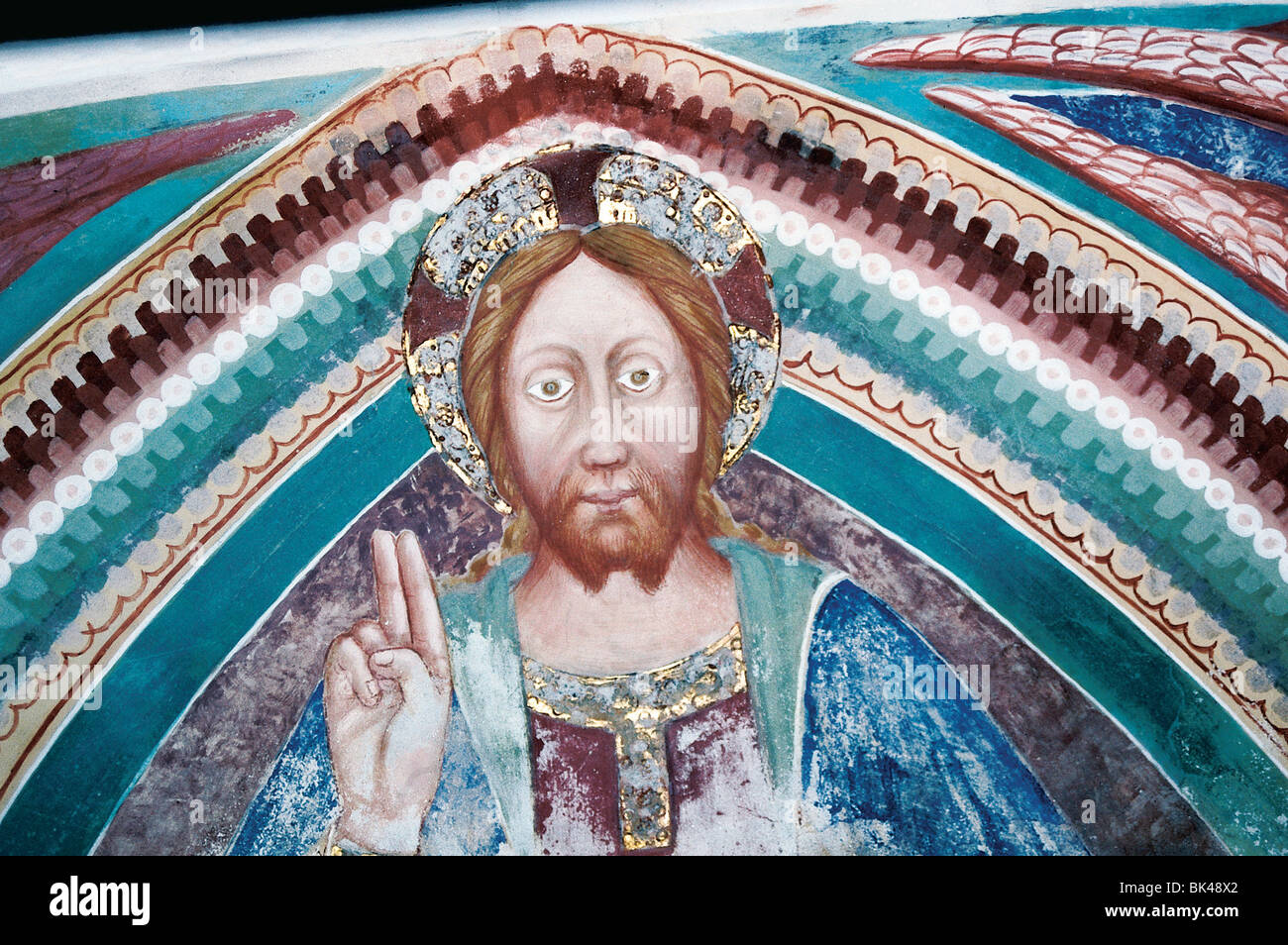 Fresco of Jesus Christ in the Romanesque church of San Carlo di Negrentino in Leontica (Ticino Canton), Switzerland - Stock Image