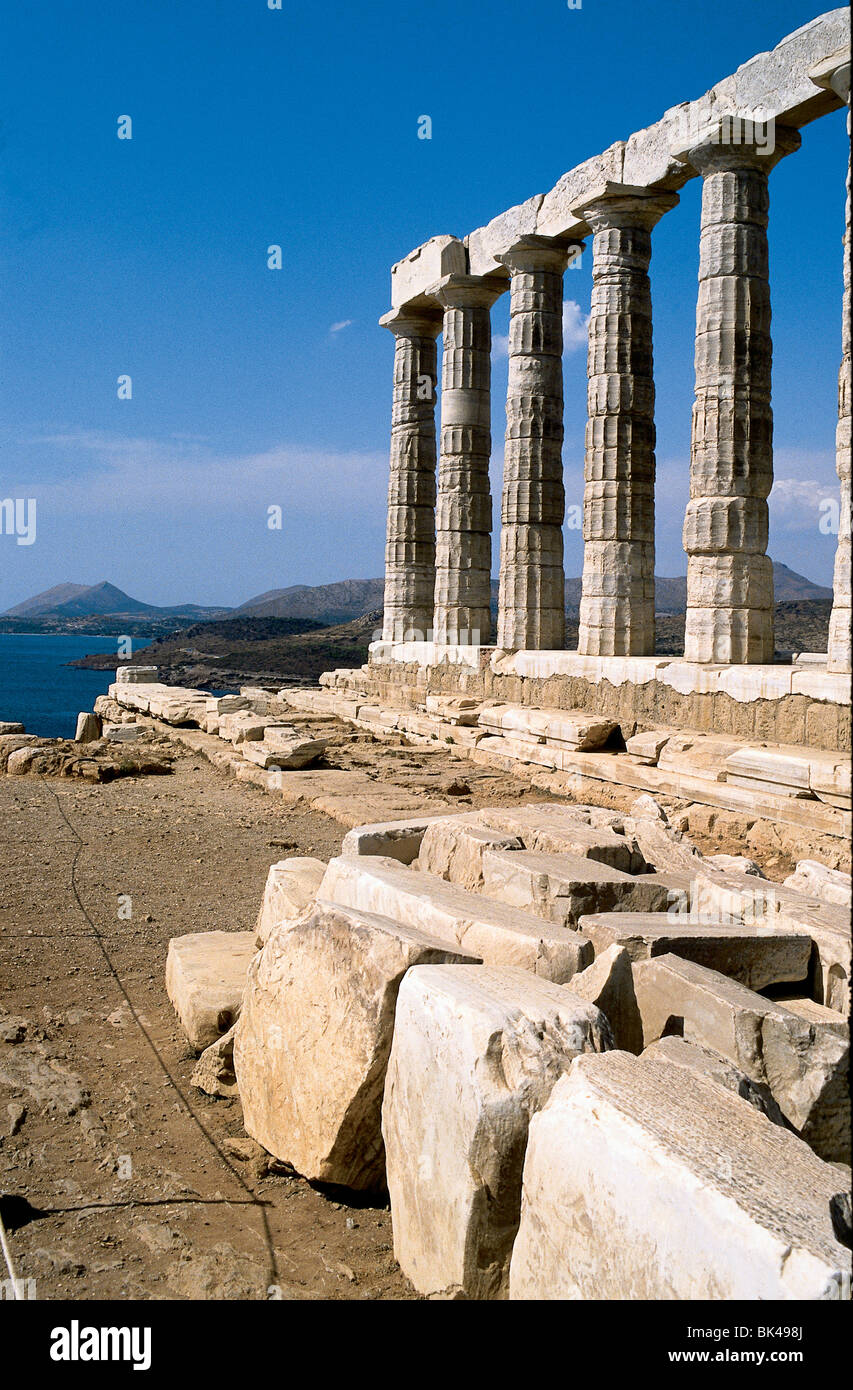 Temple of Poseidon 5th-century BC temple where according to legend King Aegeus waited for his son Theseus to return - Stock Image
