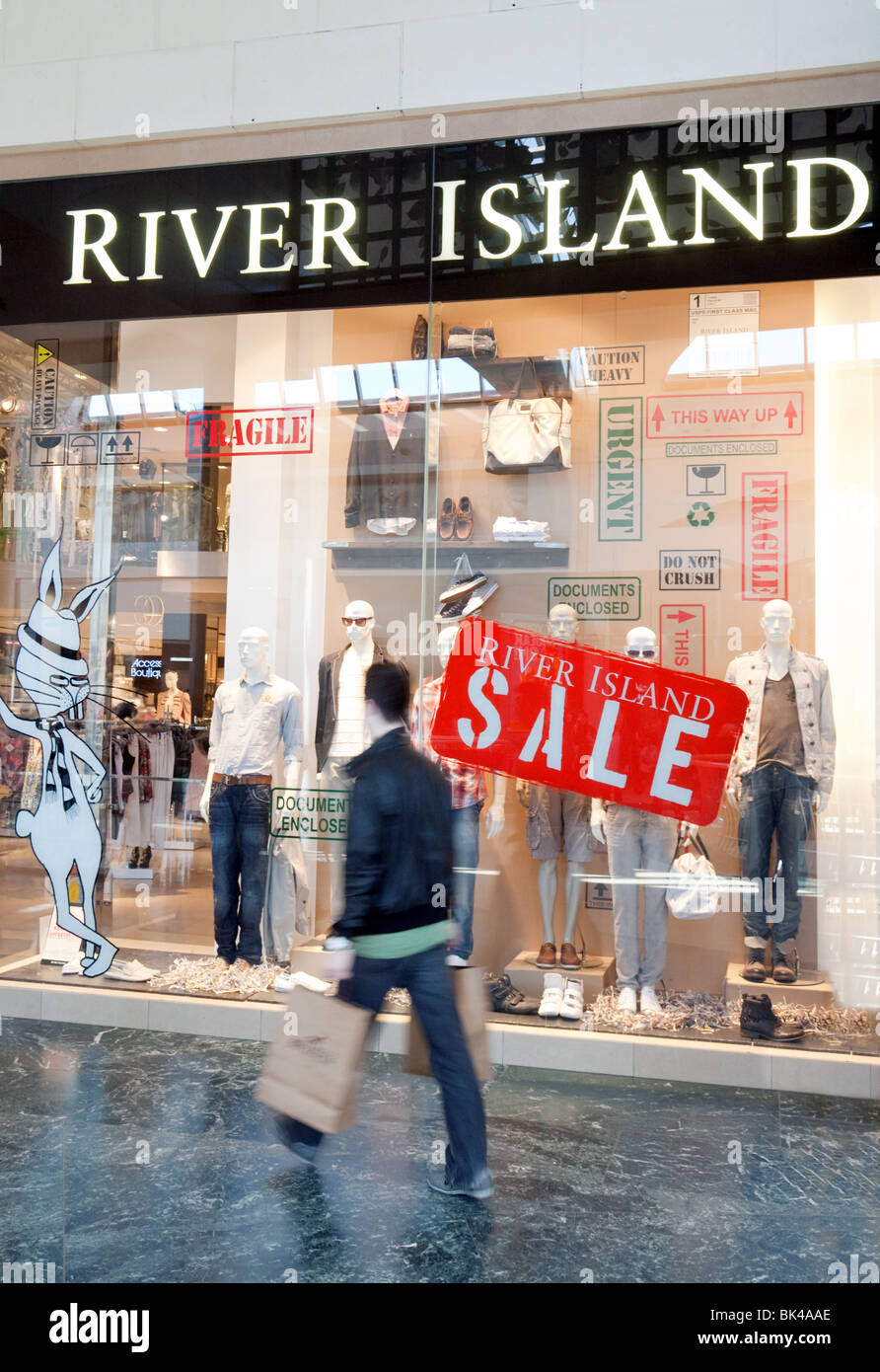 A sale at River Island clothing store, Bluewater shopping mall, Dartford, Kent, UK Stock Photo