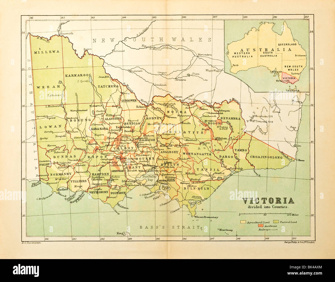Victoria In Australia Map.Old Map Of Victoria State Australia Divided Into Counties Stock