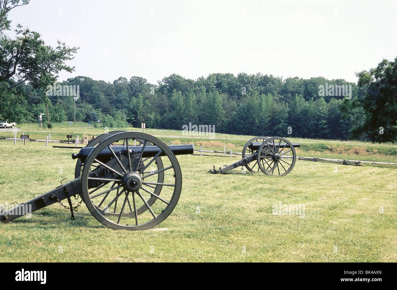 American Civil War, Chancellorsville Battlefield Cannons, Virginia - Stock Image