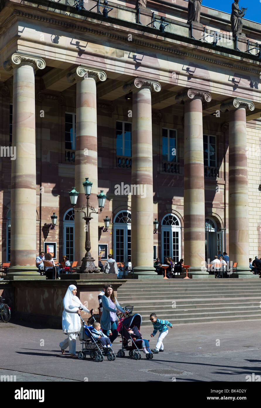 MUSLIM WOMEN WITH BABY PRAMS IN FRONT OF OPERA HOUSE STRASBOURG ALSACE FRANCE EUROPE - Stock Image