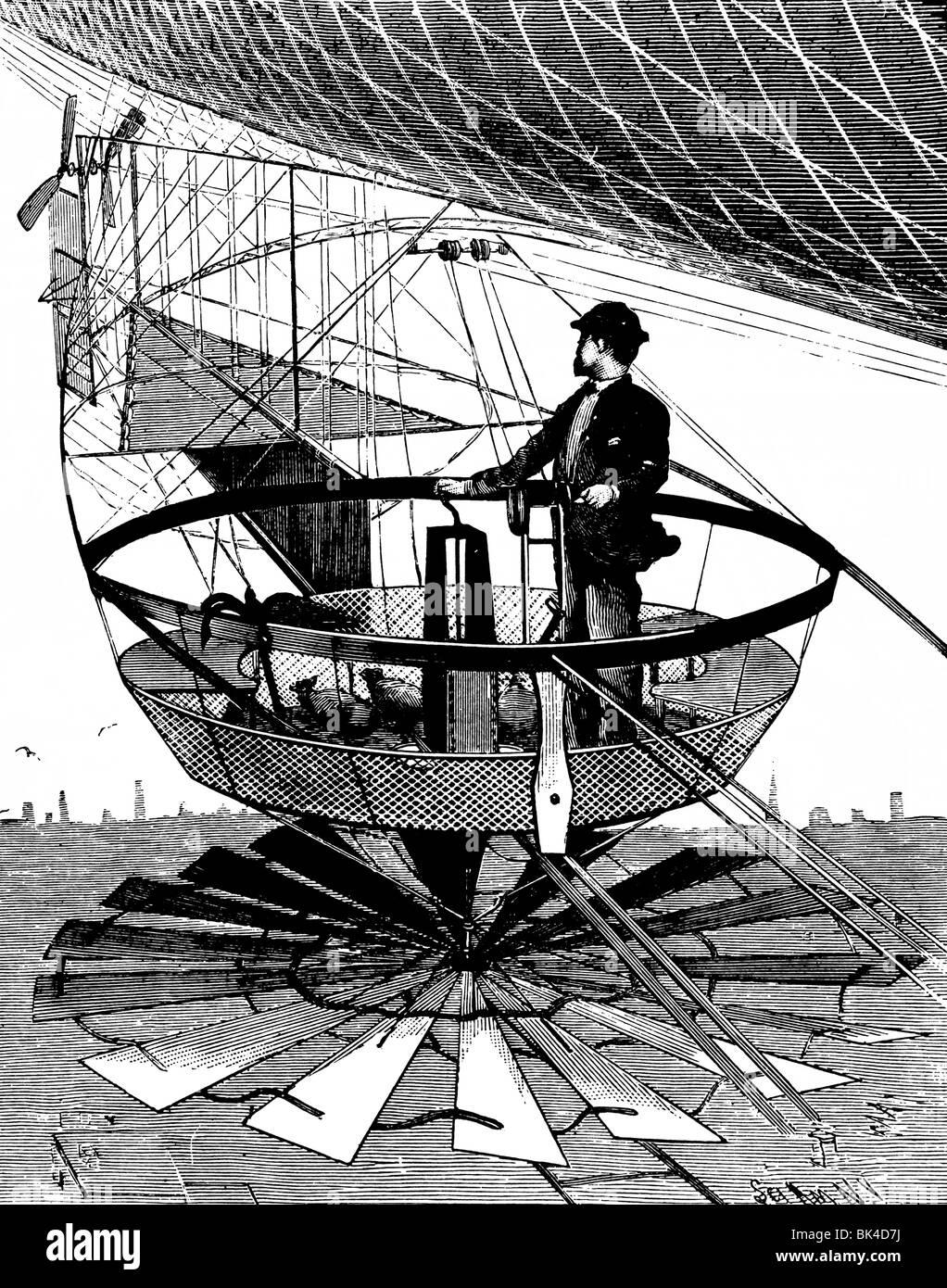 Car of Campbell s Airship, 1890 - Stock Image