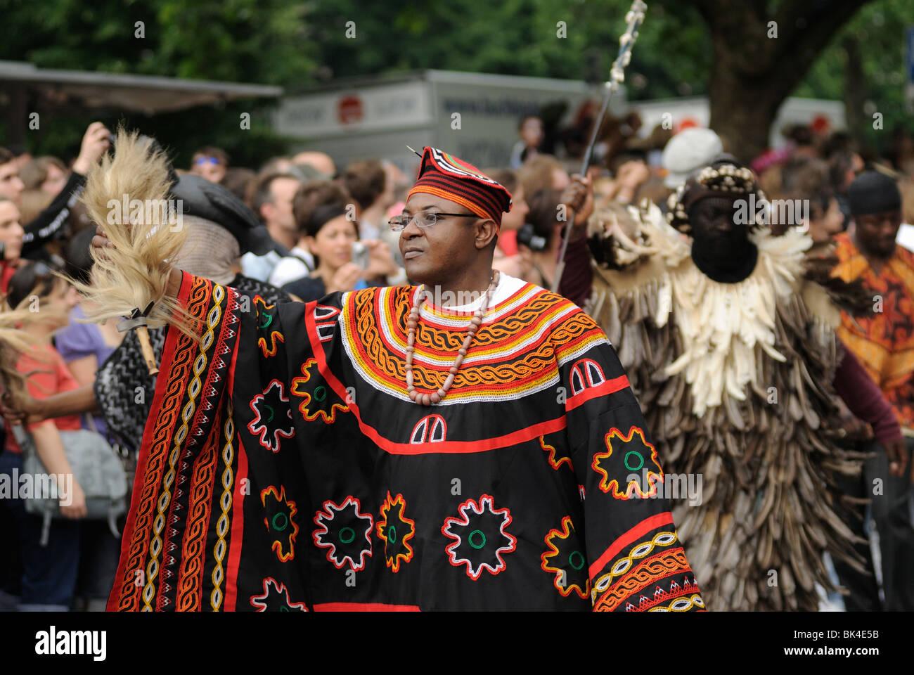 Karneval der Kulturen, Carnival of Cultures, annual famous street parade on Whitsun, Kreuzberg district, Berlin, - Stock Image