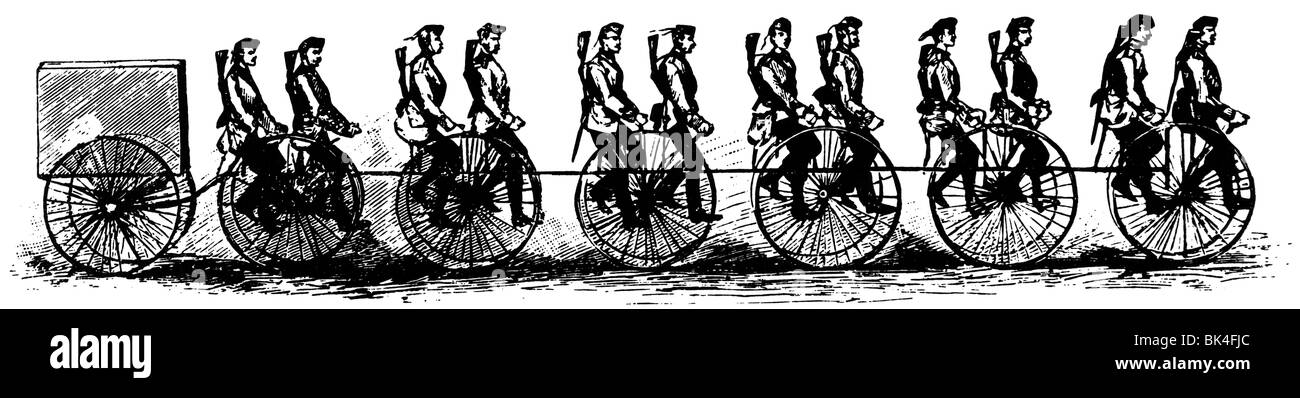 Cyclists in the British army, 1888 Stock Photo