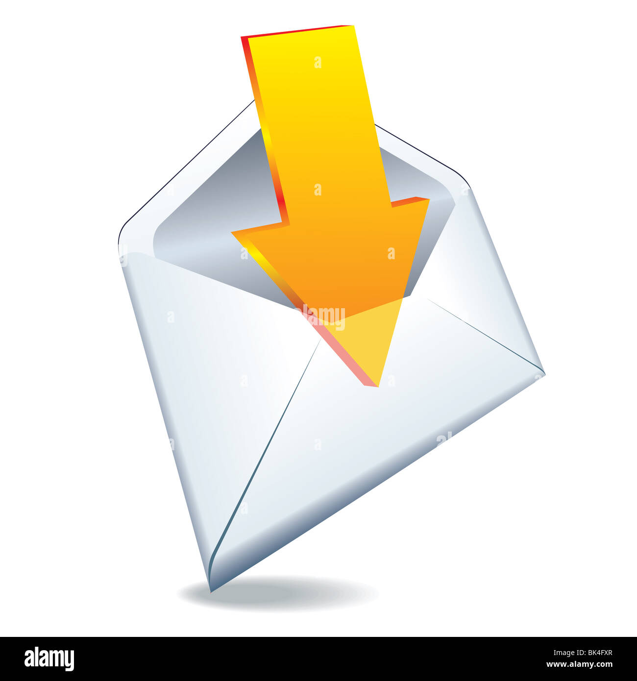 3d internet glossy button icon received mail post - Stock Image