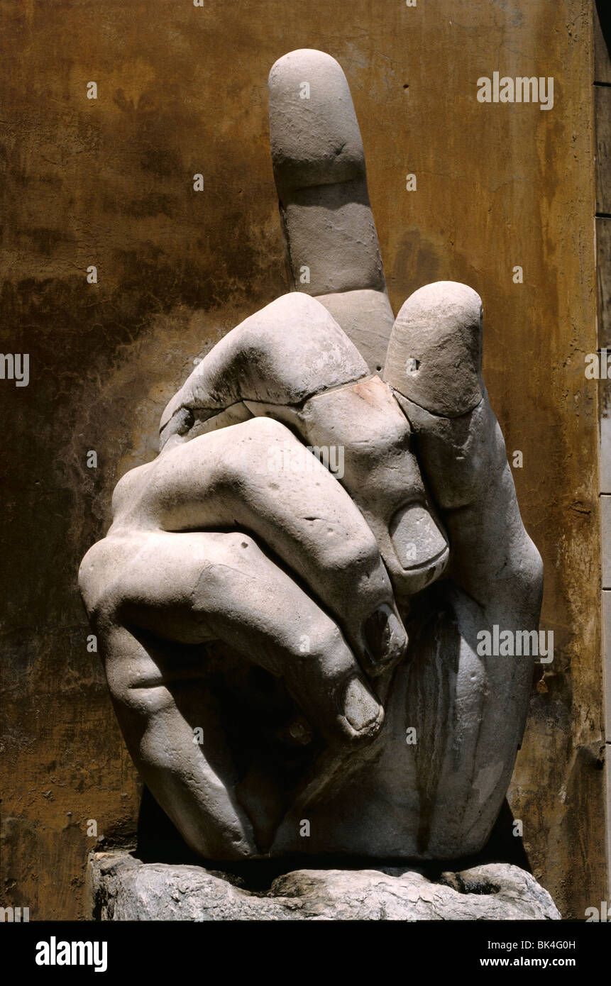 Colossal hand of the Roman Emperor Constantine in the courtyard of the Capitoline Museum, Rome, Italy - Stock Image