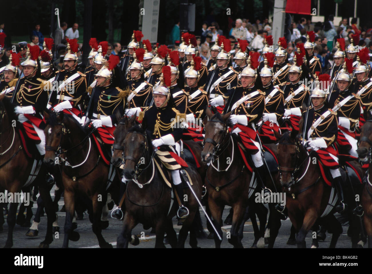 Republican Guards on the Champs Elysees during Bastille Day, Paris Stock Photo