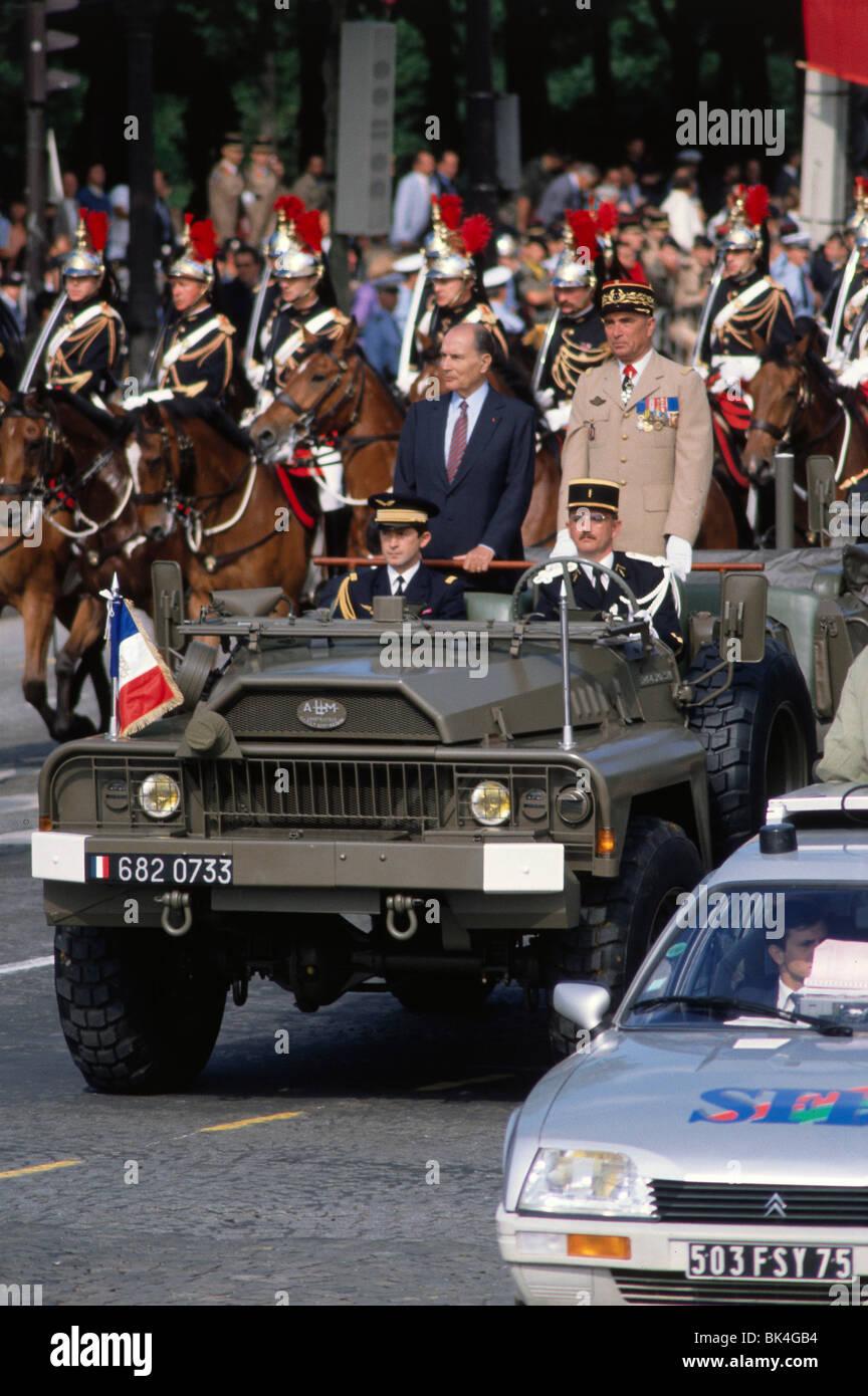 French President Francois Mitterrand, Bastille Day Parade, Paris - Stock Image