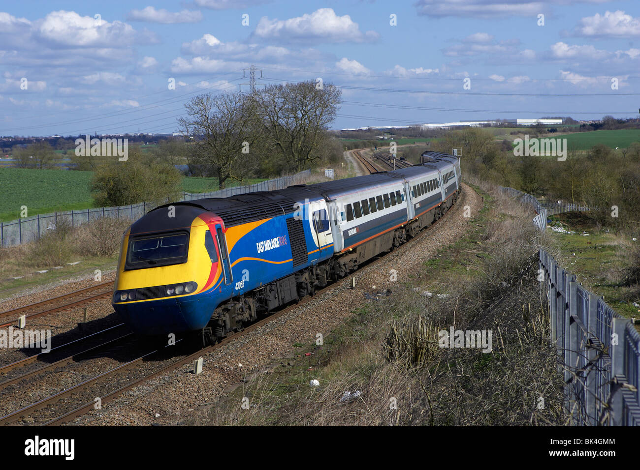 An EMT HST set headed by 43055 speeds north through Wellingborough on 8th April 2010. - Stock Image