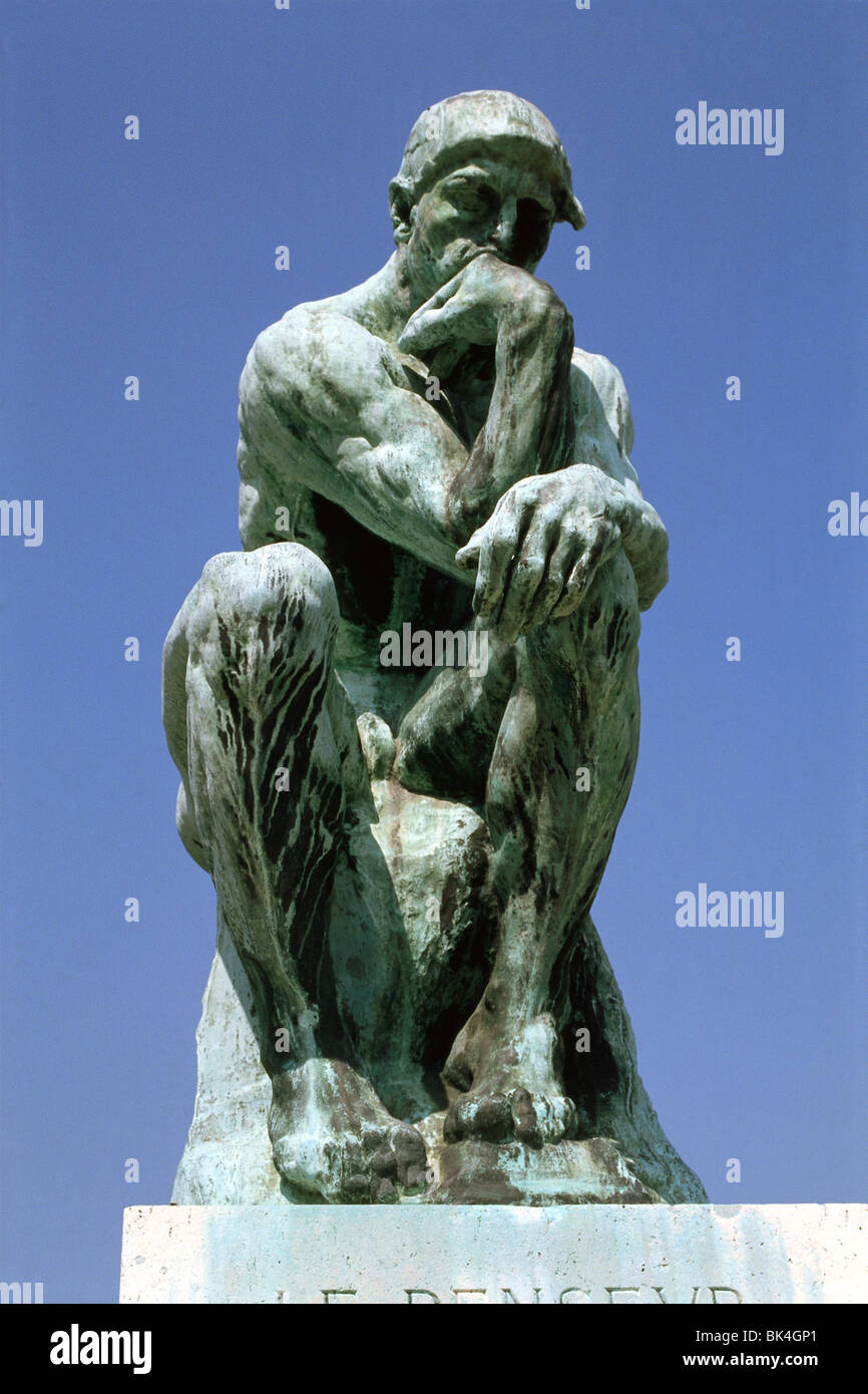The Thinker (Le Penseur) bronze sculpture by Auguste Rodin at the Musee Rodin, Paris - Stock Image