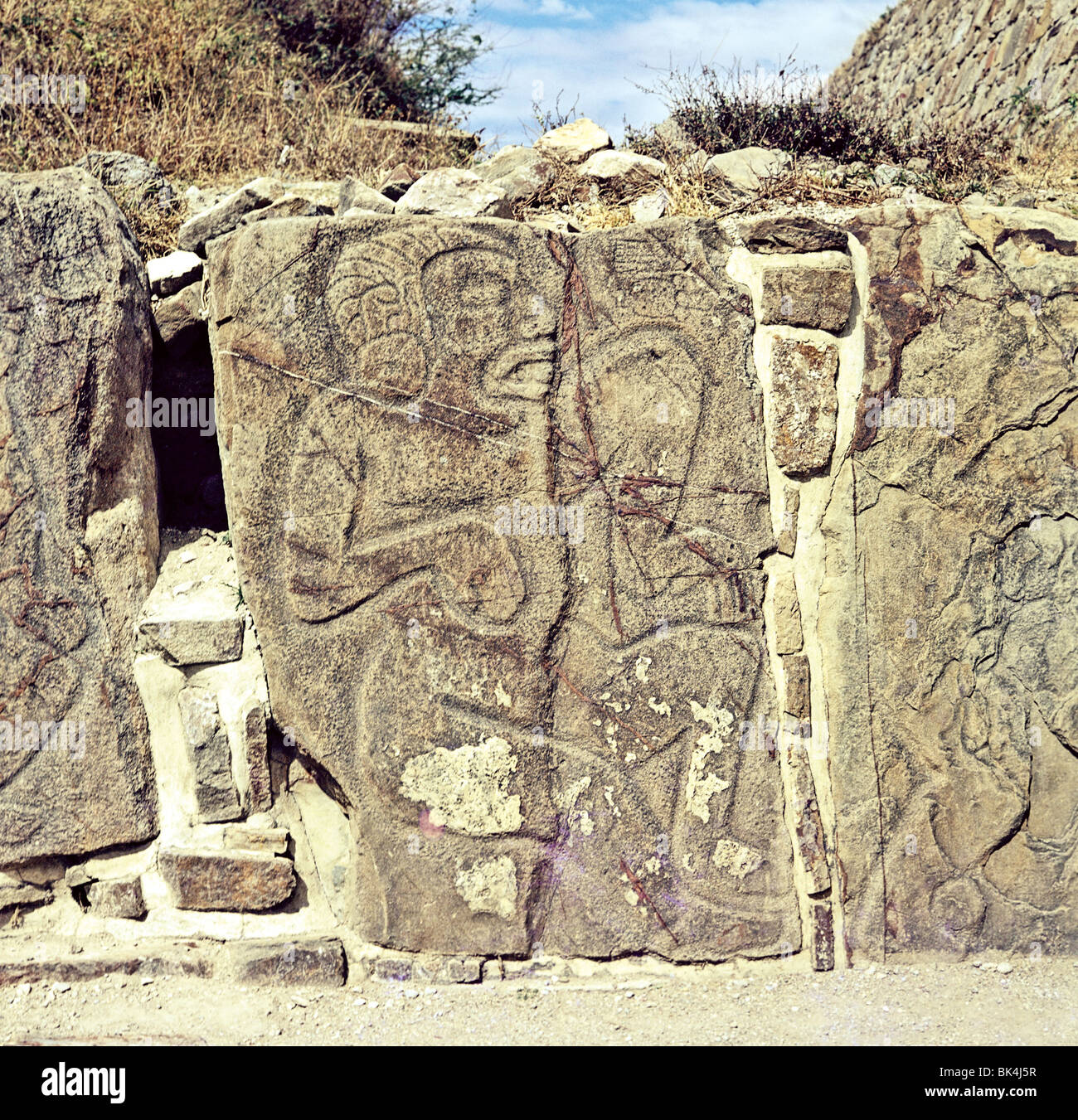 Tableros of Dancers from Sculptural Program at Building of Danzantes Monte Alban Archaeological Site State of Oaxaca - Stock Image