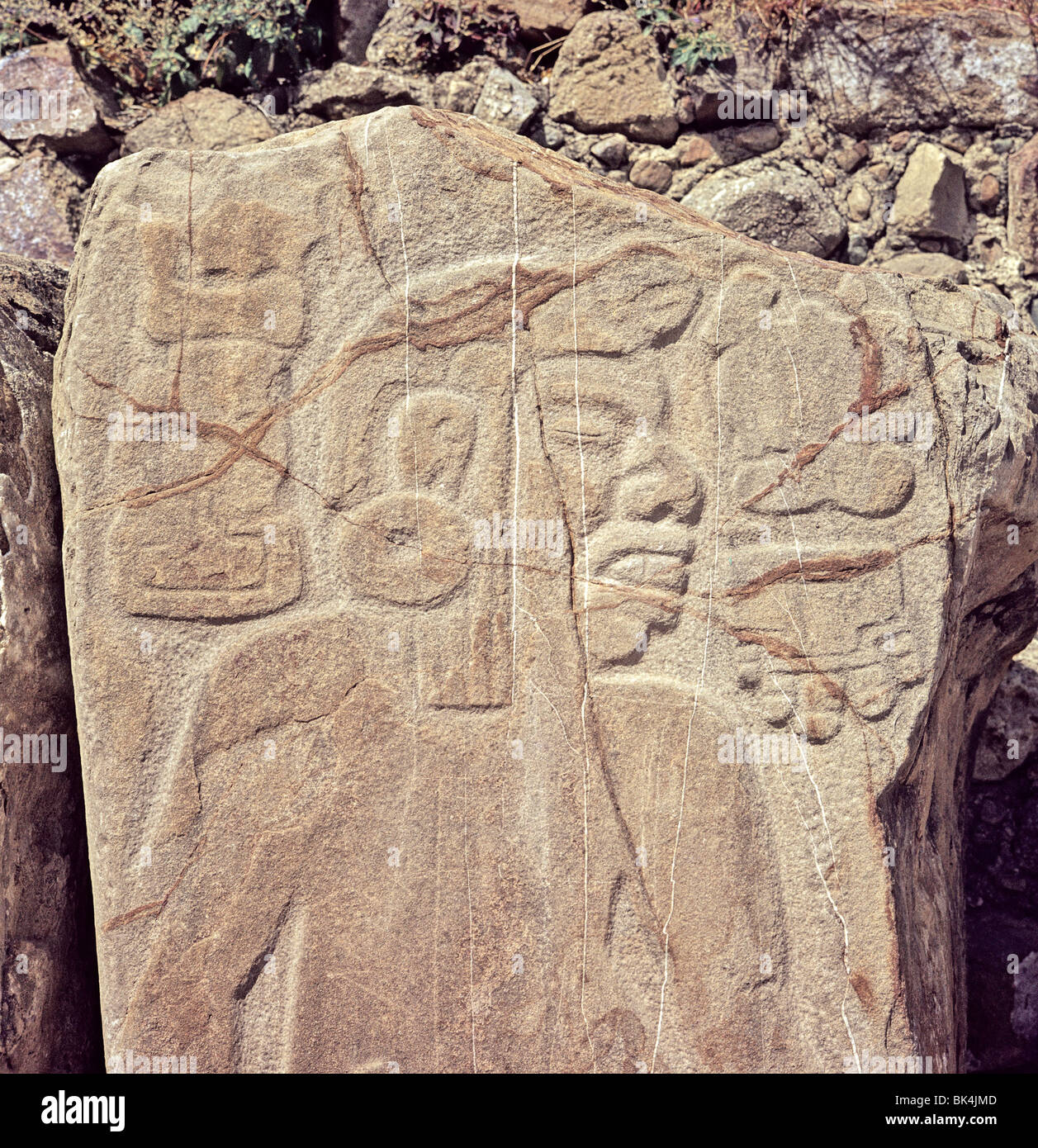 Tablero of a Dancer from Sculptural Program at Building of Danzantes Monte Alban Archaeological Site State of Oaxaca - Stock Image