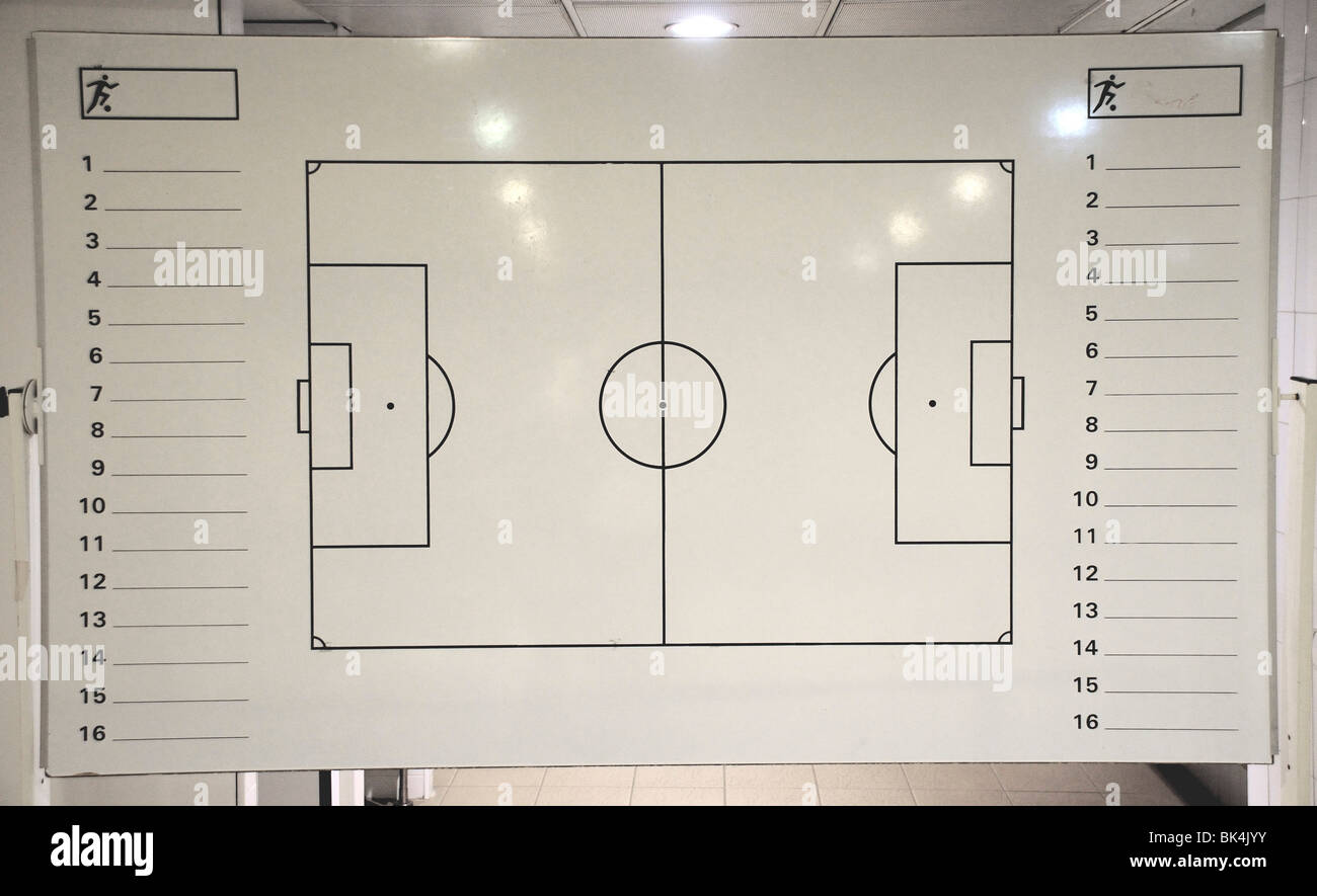 Soccer strategy board within Barcelona football club Nou Camp stadium - Stock Image