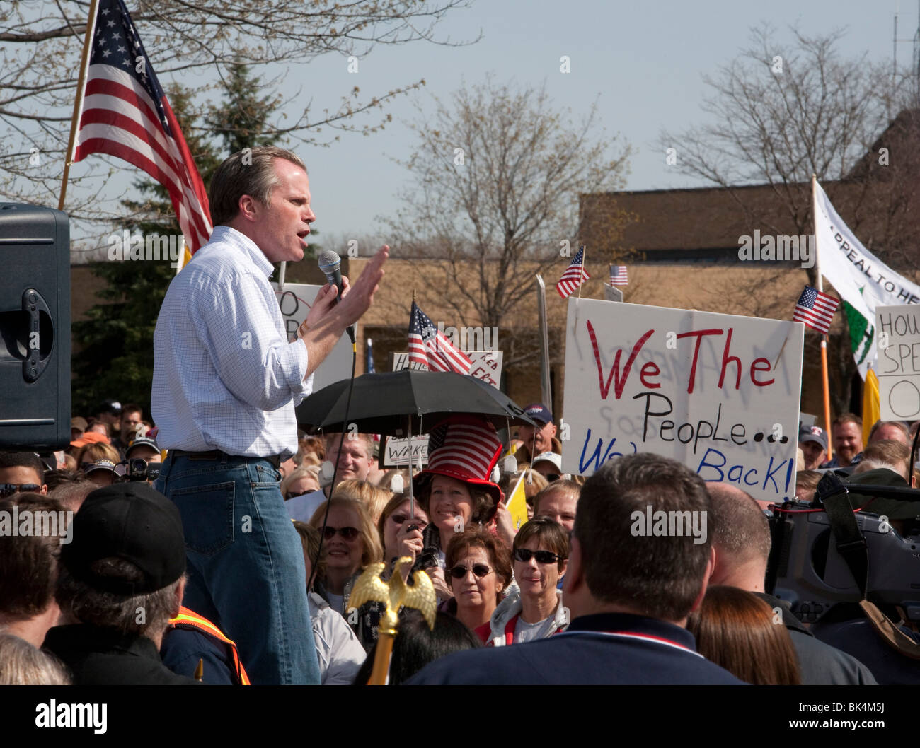 Michigan Attorney General Mike Cox Speaks at Tea Party Rally - Stock Image