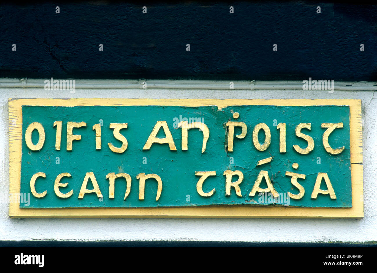 Gaelic Inscription Language, Ventry Post Office, County Kerry, Ireland Eire Irish inscriptions offices sign signs - Stock Image