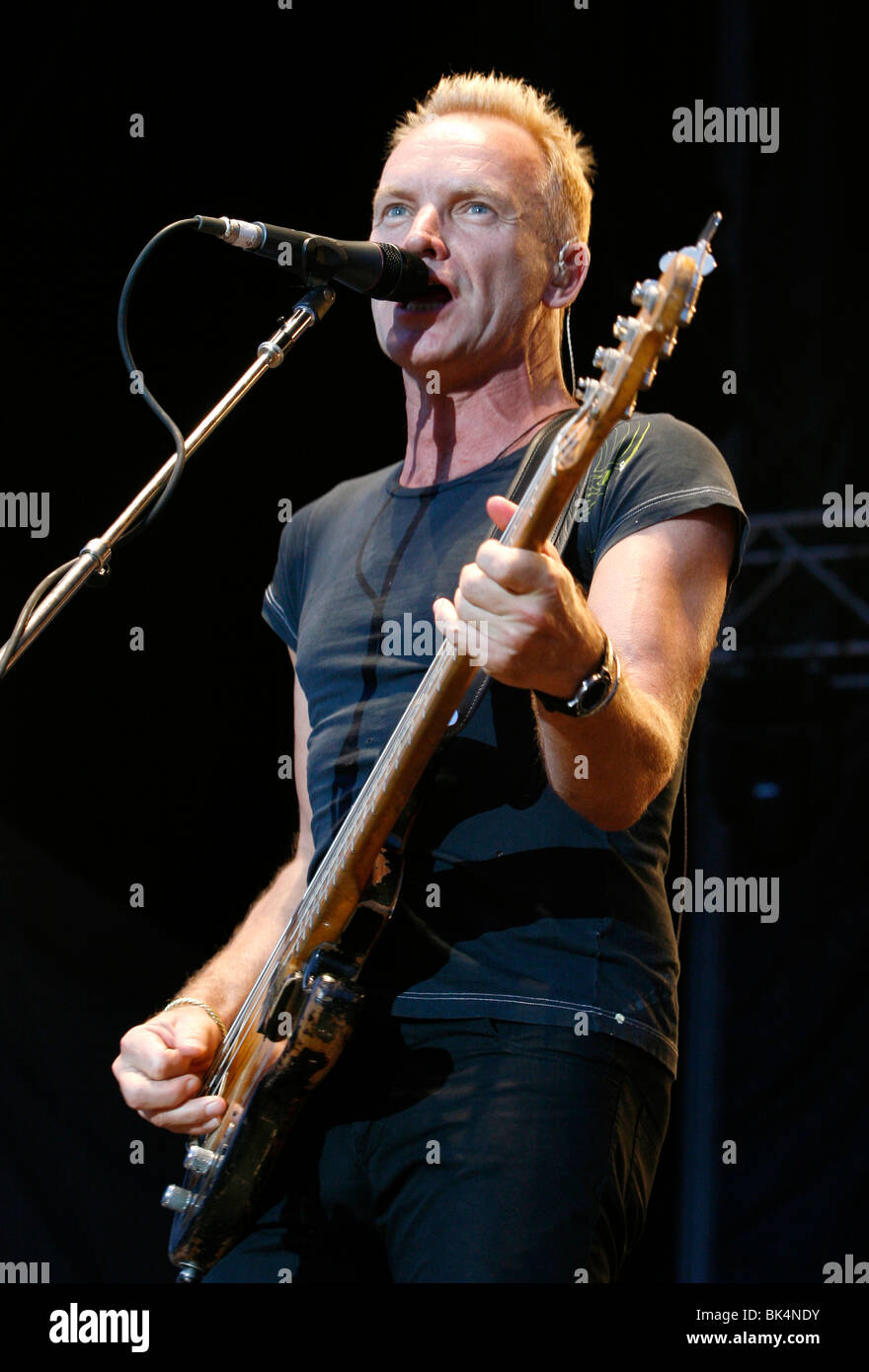 Sting of The Police performs in concert. - Stock Image