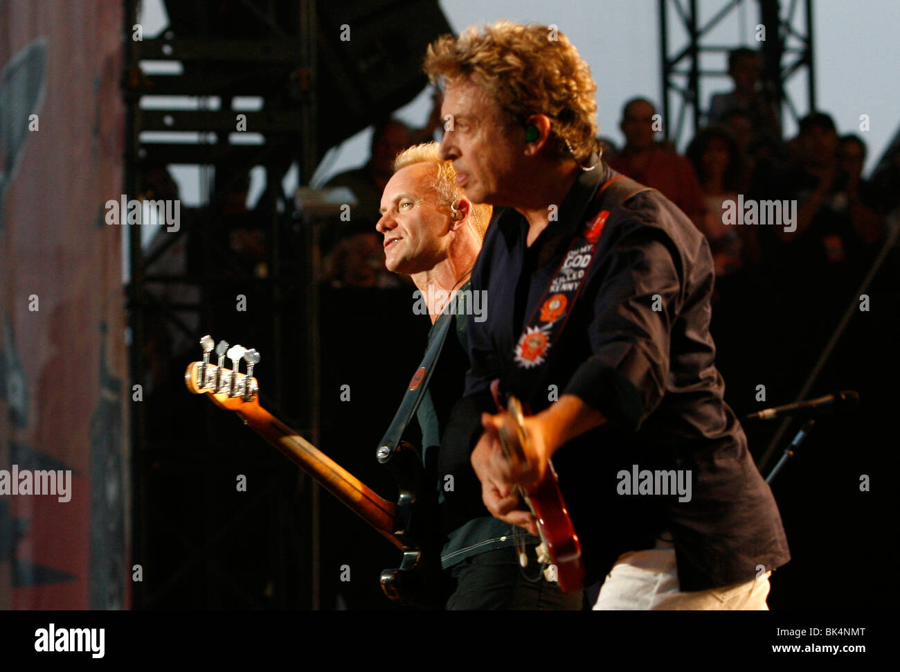 Guitarist Andy Summers and Sting of The Police performs at the Virgin Music Festival. - Stock Image