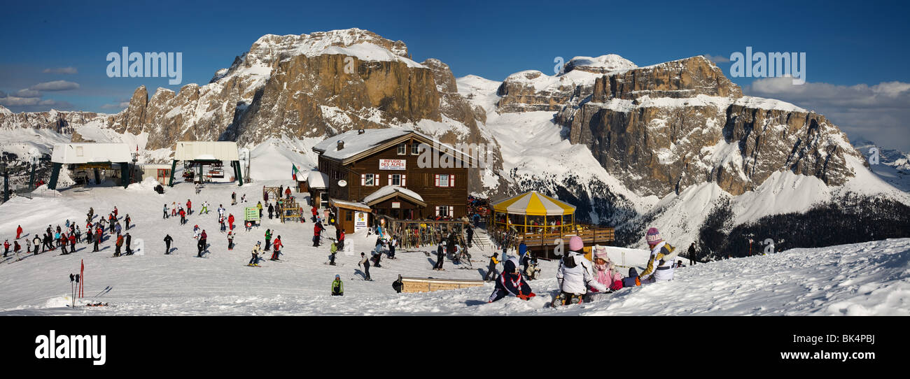 panoramic image of Dolomites mountains in winter, Italy, view of Gruppo Sella from Col Rodella ski area, Sella Ronda Stock Photo