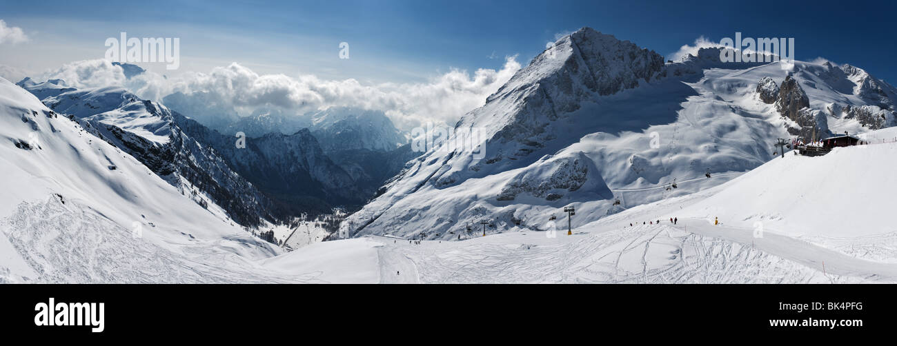 panoramic image of Dolomites mountains in winter, Italy, Marmolada glacier - Stock Image
