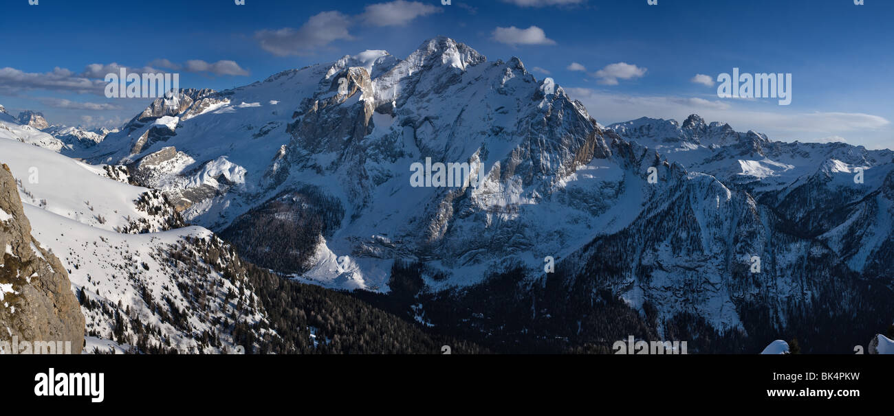 panoramic image of the Marmolada in Dolomites mountains in winter, Italy, - Stock Image