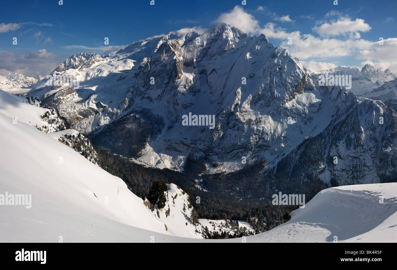 panoramic image of Dolomites mountains in winter, Italy, - Stock Image